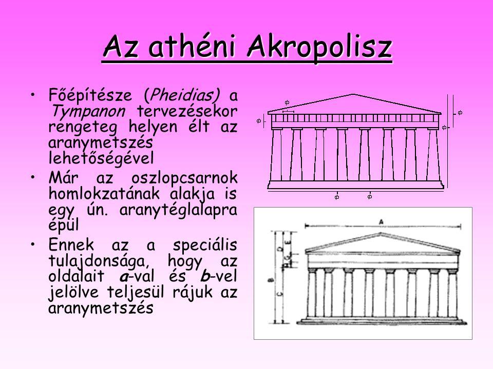 Az athéni Akropolisz Főépítésze (Pheidias) a Tympanon tervezésekor rengeteg helyen élt az aranymetszés lehetőségével.