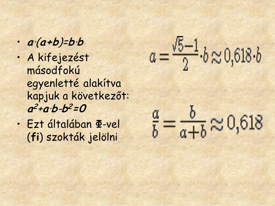 a·(a+b)=b·b A kifejezést másodfokú egyenletté alakítva kapjuk a következőt: a2+a·b-b2=0.