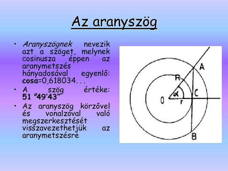 Az aranyszög Aranyszögnek nevezik azt a szöget, melynek cosinusza éppen az aranymetszés hányadosával egyenlő: cosα=0,618034. . .