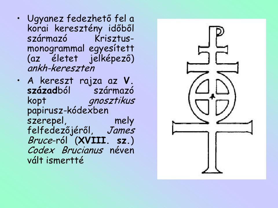 Ugyanez fedezhető fel a korai keresztény időből származó Krisztus-monogrammal egyesített (az életet jelképező) ankh-kereszten