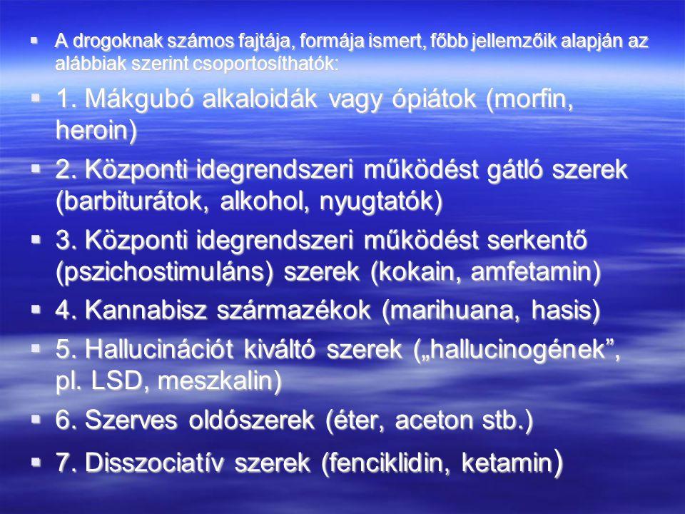 1. Mákgubó alkaloidák vagy ópiátok (morfin, heroin)