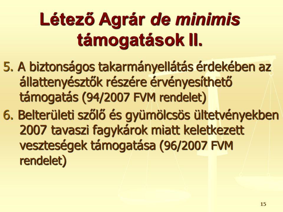 Létező Agrár de minimis támogatások II.