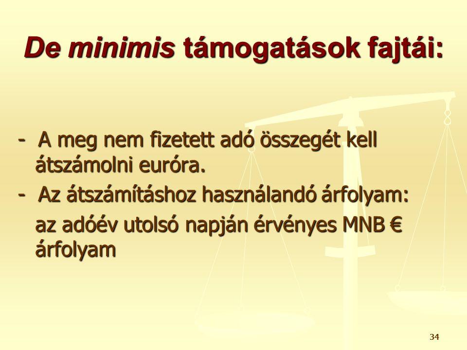 De minimis támogatások fajtái: