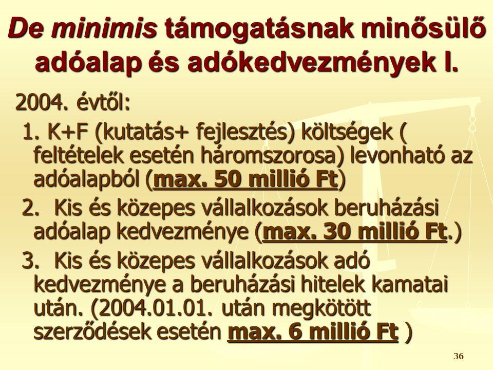 De minimis támogatásnak minősülő adóalap és adókedvezmények I.