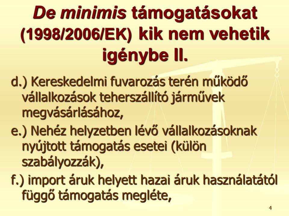 De minimis támogatásokat (1998/2006/EK) kik nem vehetik igénybe II.