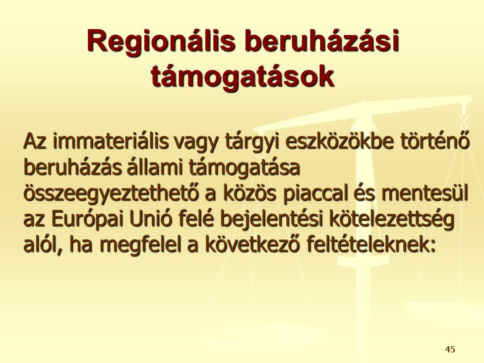 Regionális beruházási támogatások