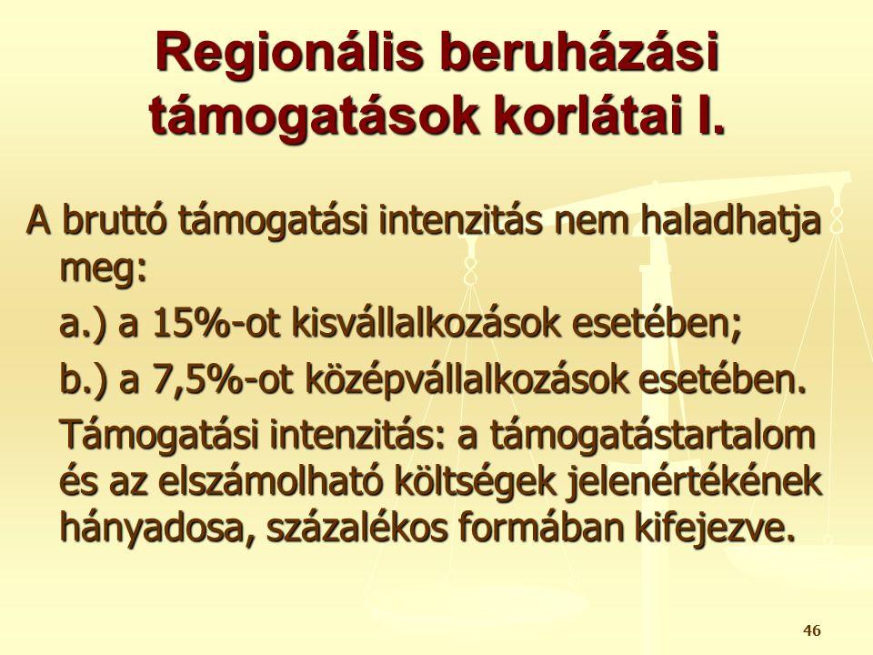 Regionális beruházási támogatások korlátai I.