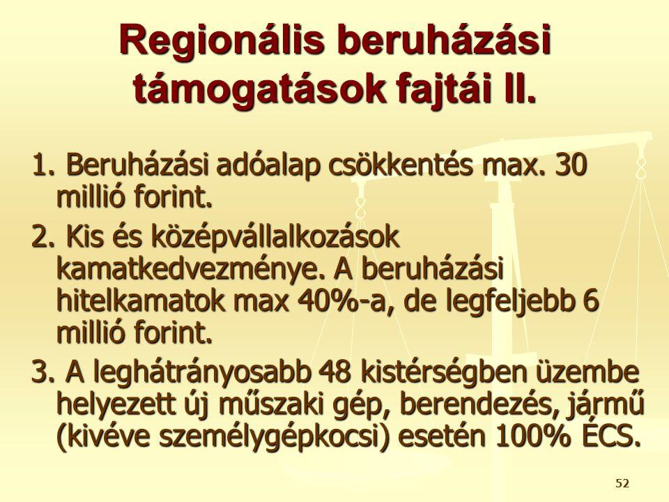 Regionális beruházási támogatások fajtái II.