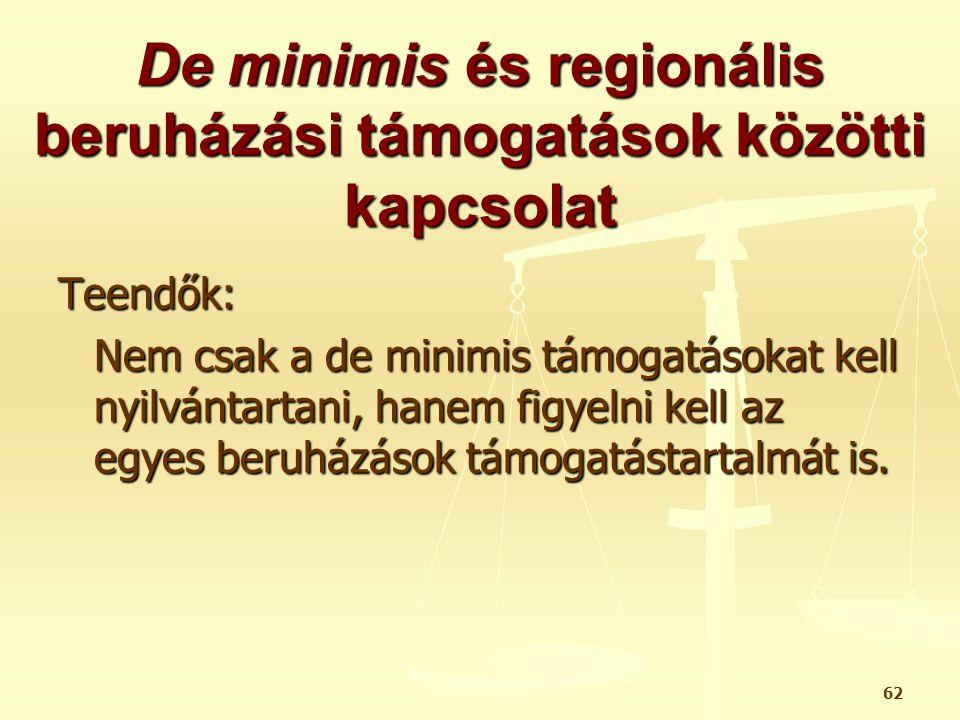 De minimis és regionális beruházási támogatások közötti kapcsolat
