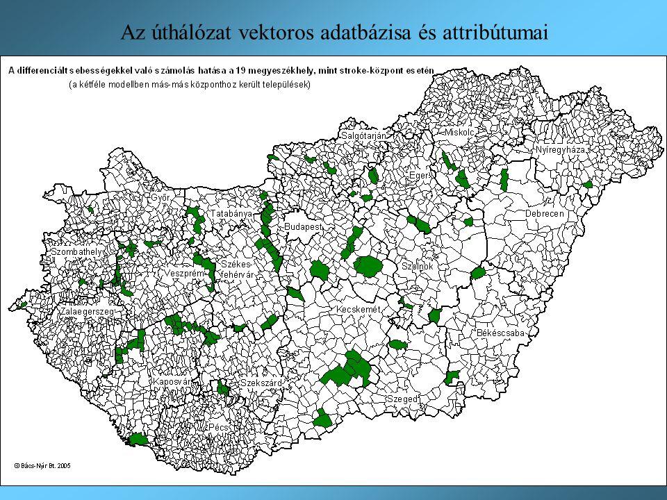 Az úthálózat vektoros adatbázisa és attribútumai