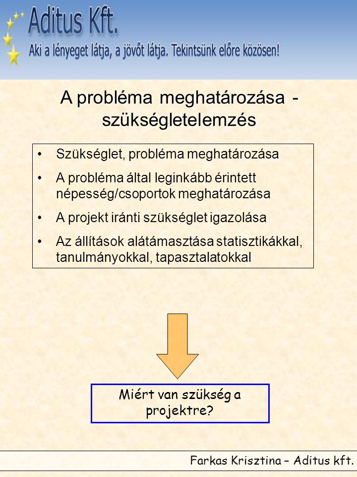 A probléma meghatározása - szükségletelemzés