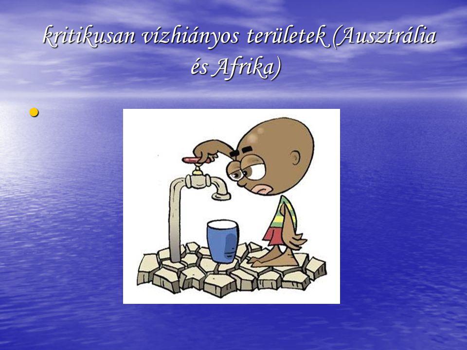 kritikusan vízhiányos területek (Ausztrália és Afrika)