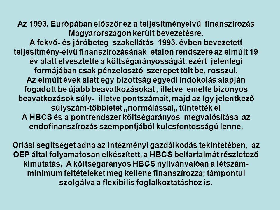 Az 1993. Európában először ez a teljesítményelvű finanszírozás Magyarországon került bevezetésre.
