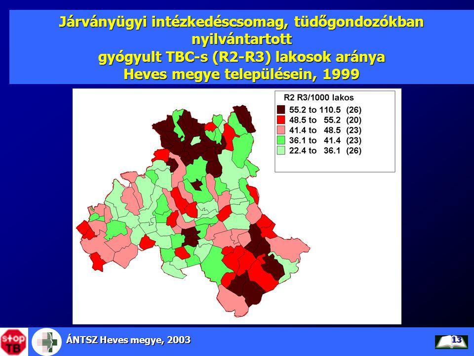 Járványügyi intézkedéscsomag, tüdőgondozókban nyilvántartott gyógyult TBC-s (R2-R3) lakosok aránya Heves megye településein, 1999