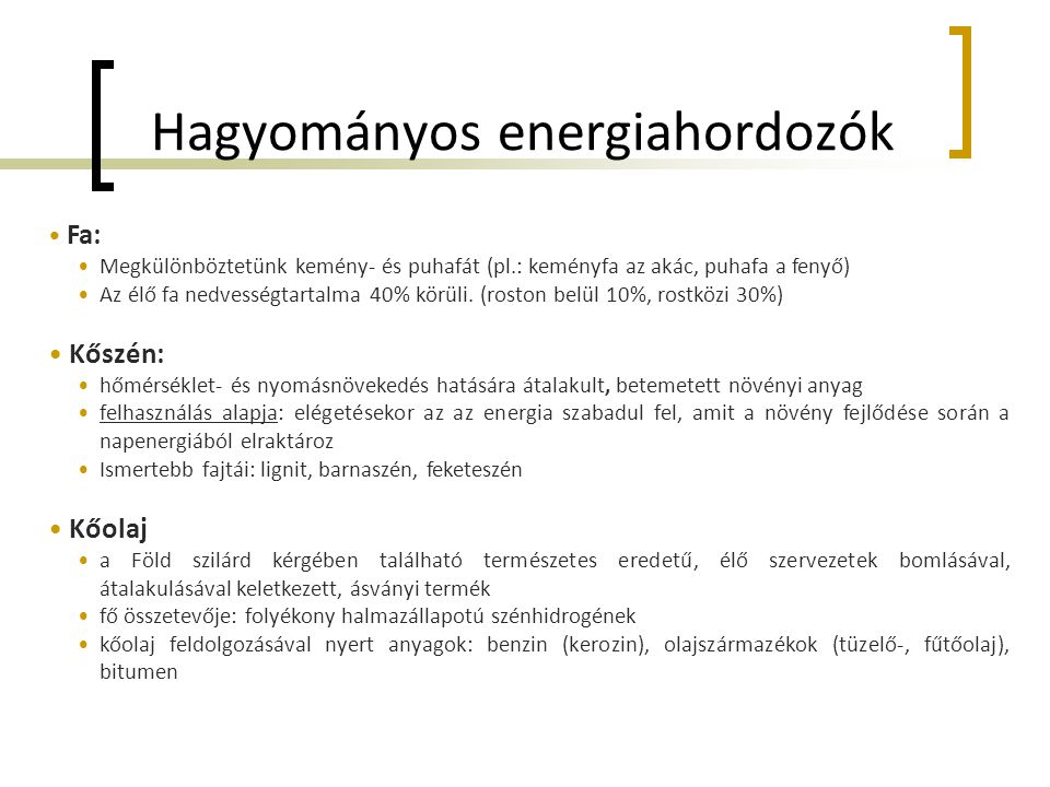 Hagyományos energiahordozók