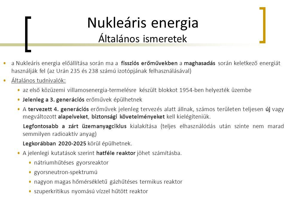 Nukleáris energia Általános ismeretek