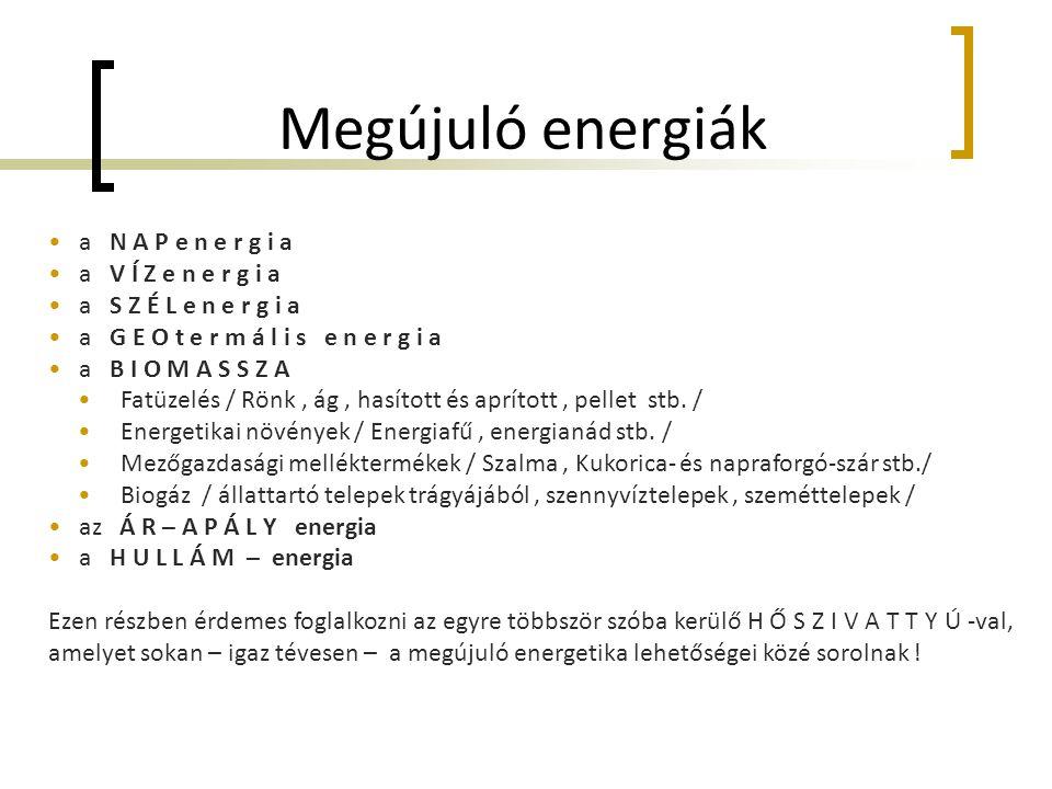 Megújuló energiák a N A P e n e r g i a a V Í Z e n e r g i a