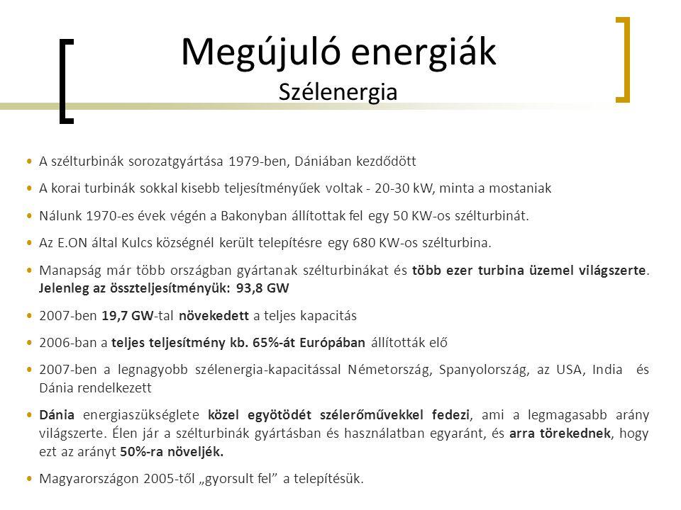 Megújuló energiák Szélenergia