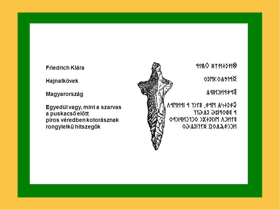 Friedrich Klára Hajnalkövek. Magyarország. Egyedül vagy, mint a szarvas. a puskacső előtt. piros véredben kotorásznak.