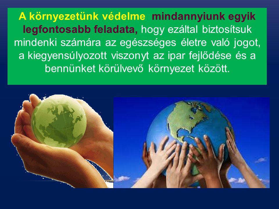 A környezetünk védelme mindannyiunk egyik legfontosabb feladata, hogy ezáltal biztosítsuk mindenki számára az egészséges életre való jogot, a kiegyensúlyozott viszonyt az ipar fejlődése és a bennünket körülvevő környezet között.