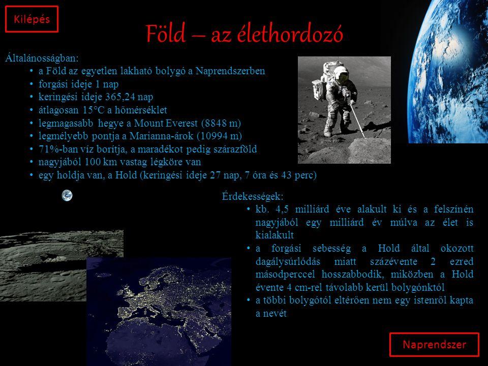Föld – az élethordozó Kilépés Naprendszer Általánosságban: