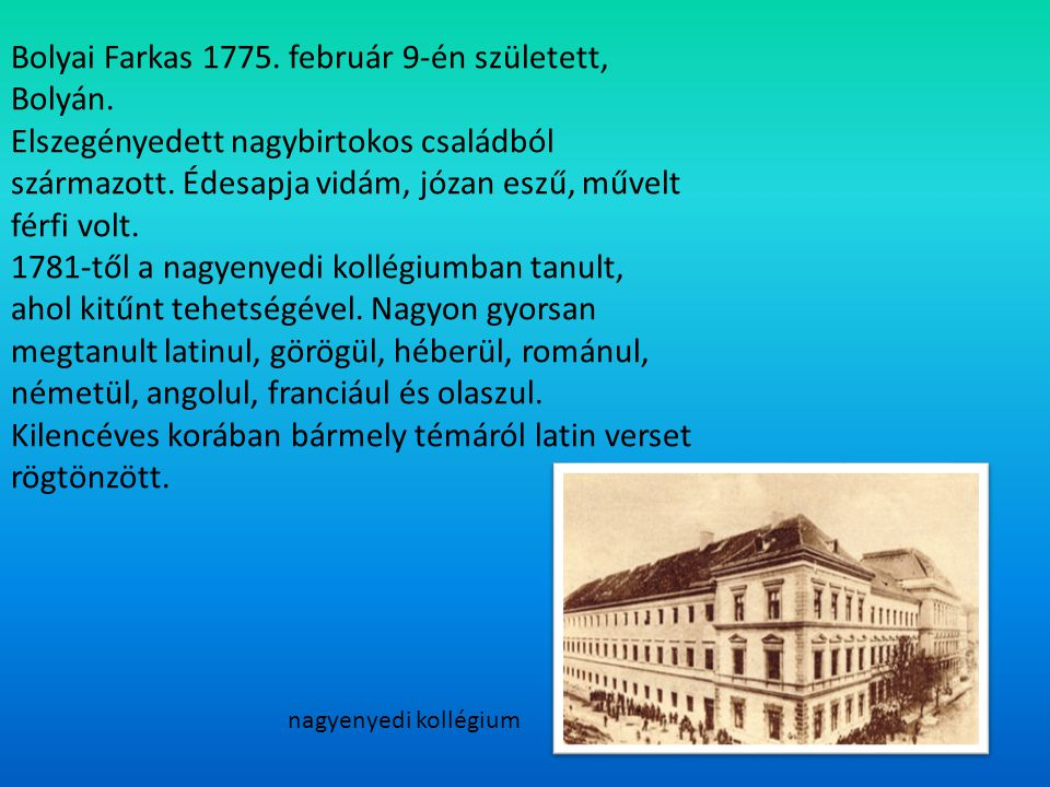 Bolyai Farkas 1775. február 9-én született, Bolyán.