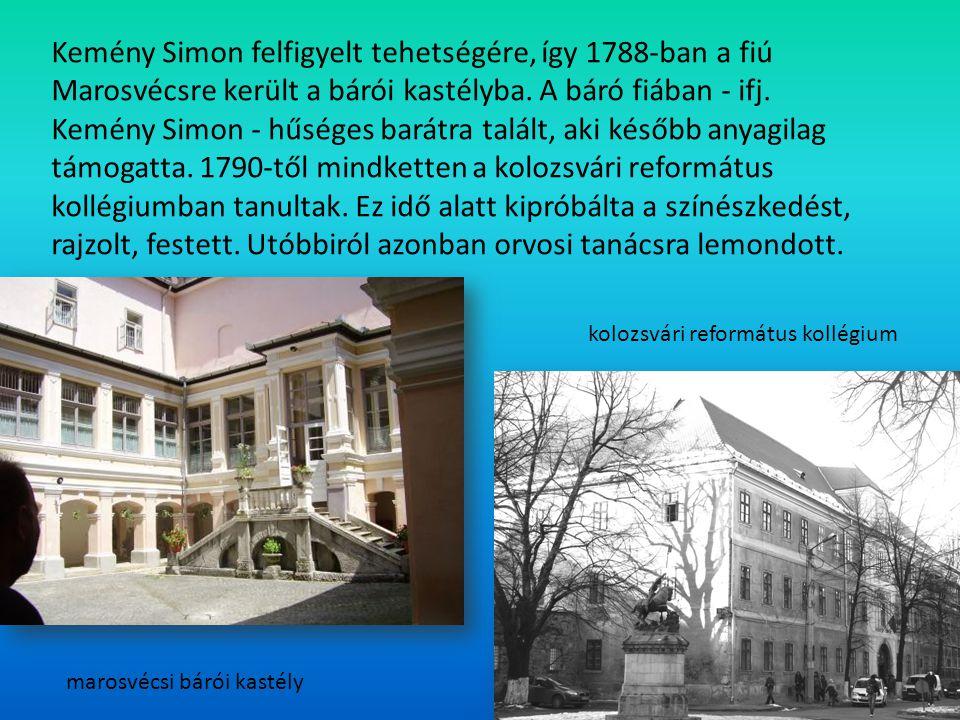 Kemény Simon felfigyelt tehetségére, így 1788-ban a fiú Marosvécsre került a bárói kastélyba. A báró fiában - ifj. Kemény Simon - hűséges barátra talált, aki később anyagilag támogatta. 1790-től mindketten a kolozsvári református kollégiumban tanultak. Ez idő alatt kipróbálta a színészkedést, rajzolt, festett. Utóbbiról azonban orvosi tanácsra lemondott.