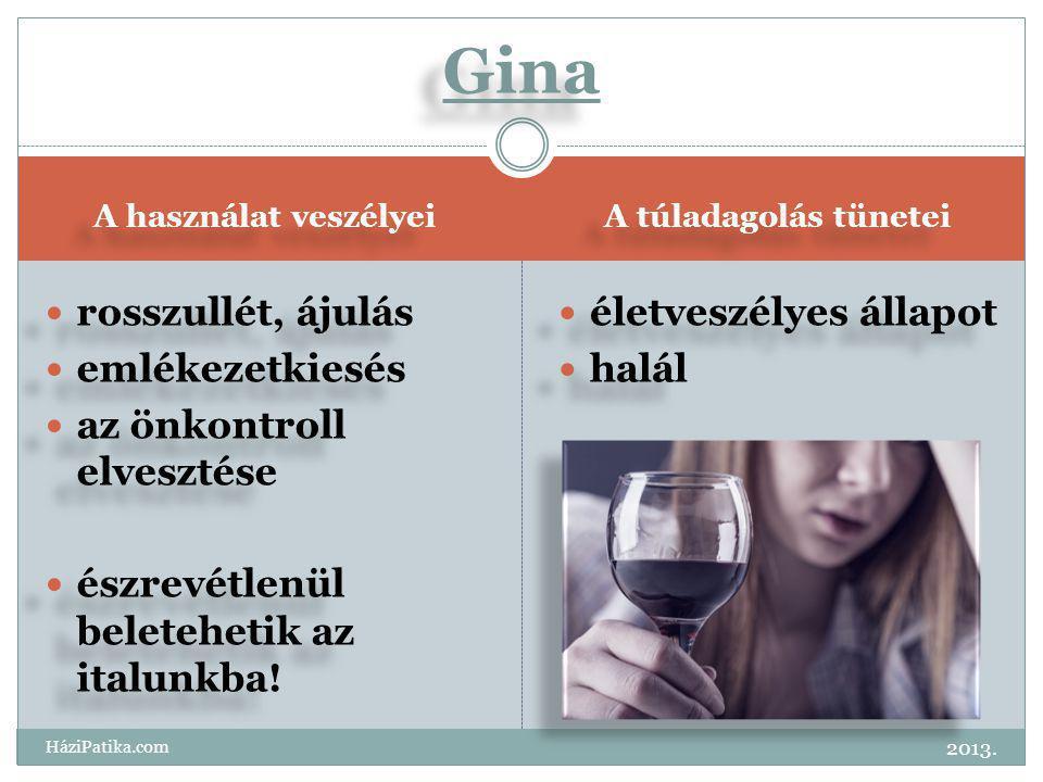 Gina rosszullét, ájulás emlékezetkiesés az önkontroll elvesztése
