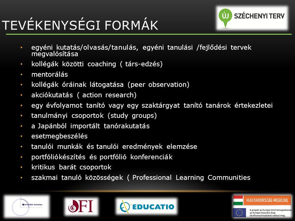 TEVÉKENYSÉGI FORMÁK egyéni kutatás/olvasás/tanulás, egyéni tanulási /fejlődési tervek megvalósítása.