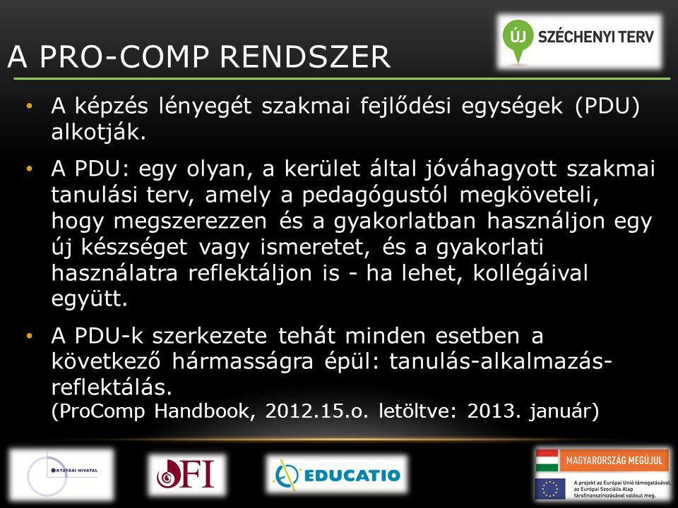 A PRO-COMP RENDSZER A képzés lényegét szakmai fejlődési egységek (PDU) alkotják.