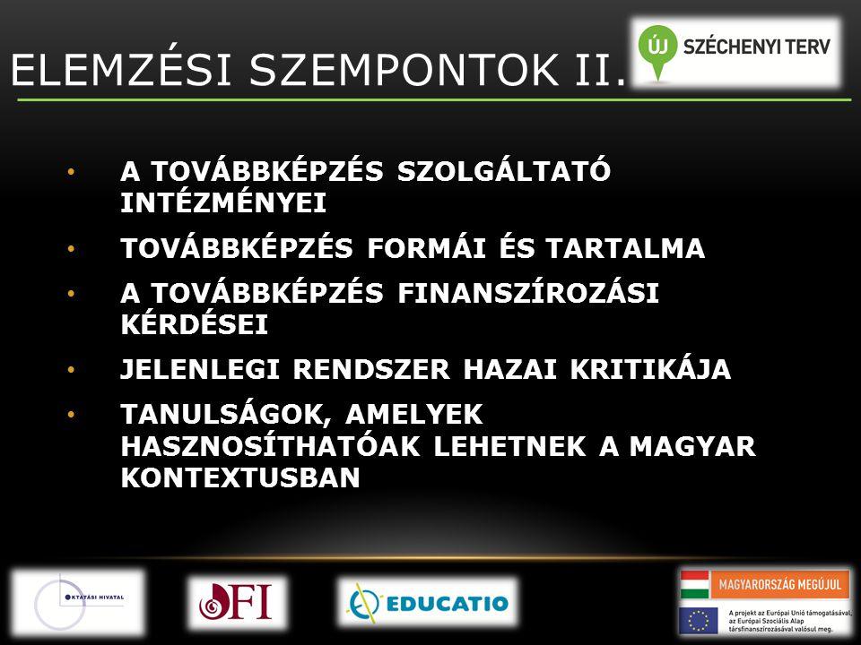 ELEMZÉSI SZEMPONTOK II.