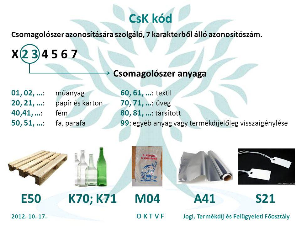 CsK kód X 2 3 4 5 6 7 E50 K70; K71 M04 A41 S21 Csomagolószer anyaga