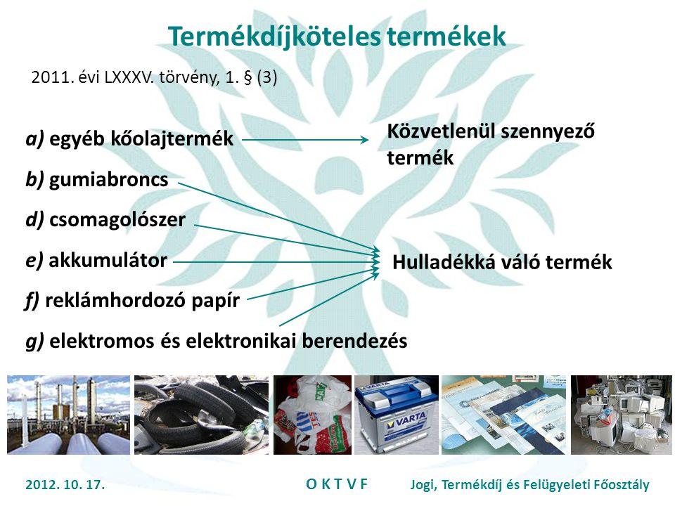 Termékdíjköteles termékek