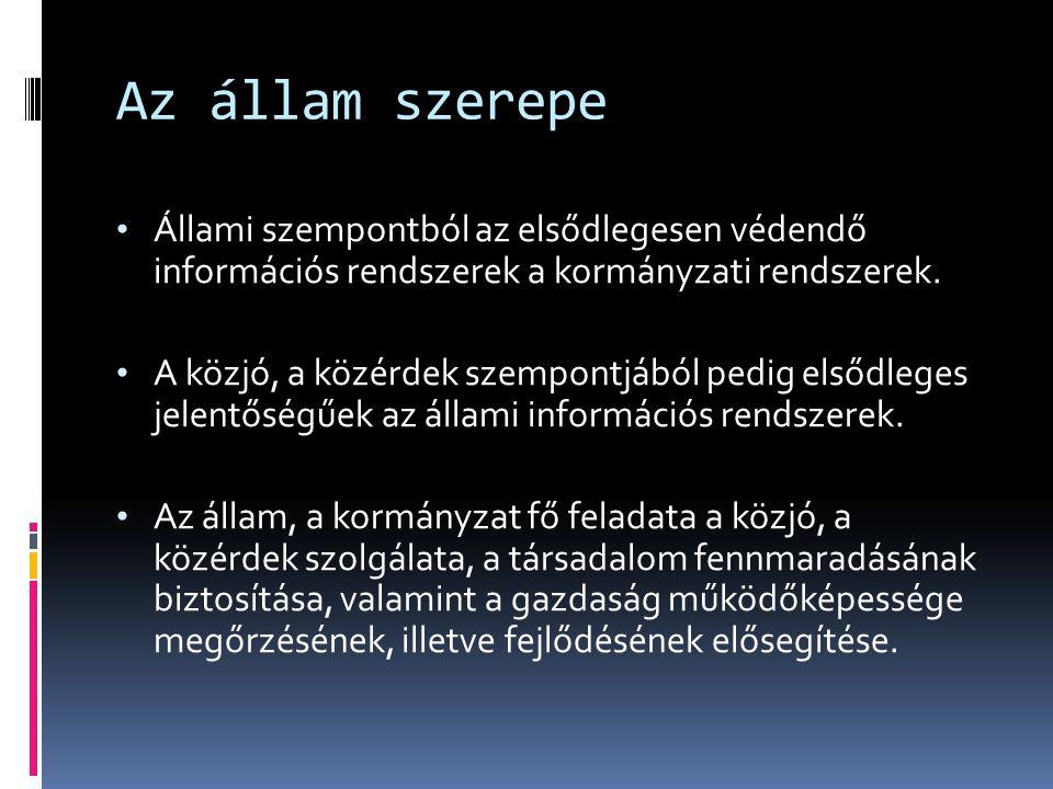 Az állam szerepe Állami szempontból az elsődlegesen védendő információs rendszerek a kormányzati rendszerek.