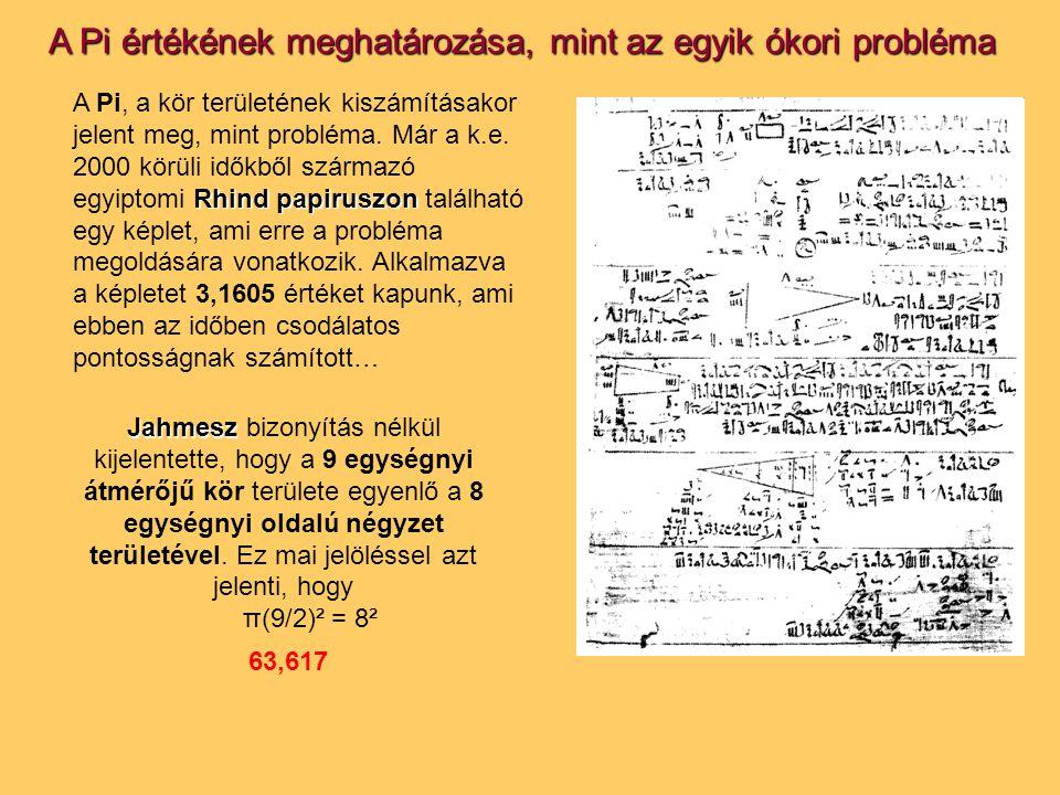 A Pi értékének meghatározása, mint az egyik ókori probléma