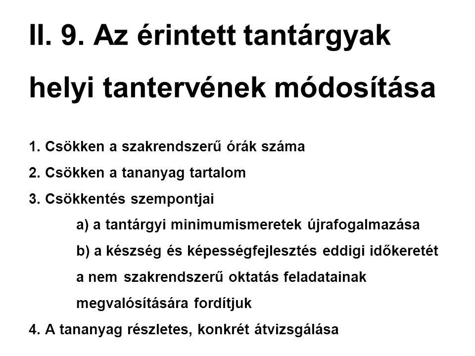 II. 9. Az érintett tantárgyak helyi tantervének módosítása 1