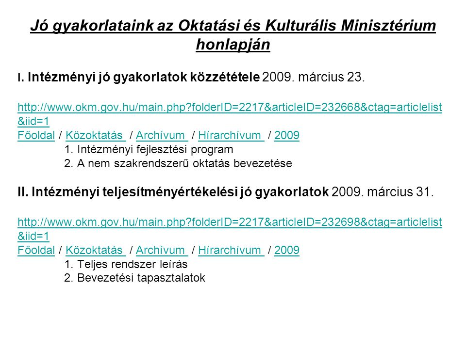 Jó gyakorlataink az Oktatási és Kulturális Minisztérium honlapján
