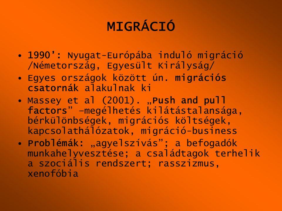 MIGRÁCIÓ 1990': Nyugat-Európába induló migráció /Németország, Egyesült Királyság/ Egyes országok között ún. migrációs csatornák alakulnak ki.