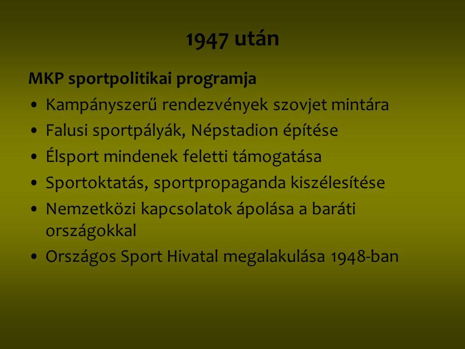 1947 után MKP sportpolitikai programja