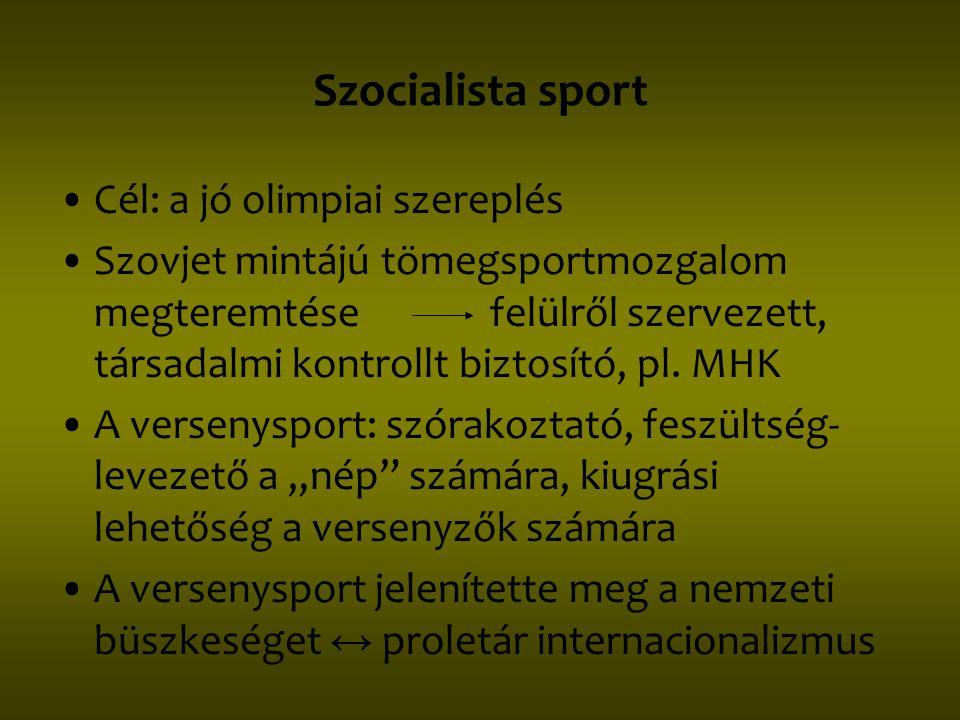 Szocialista sport Cél: a jó olimpiai szereplés