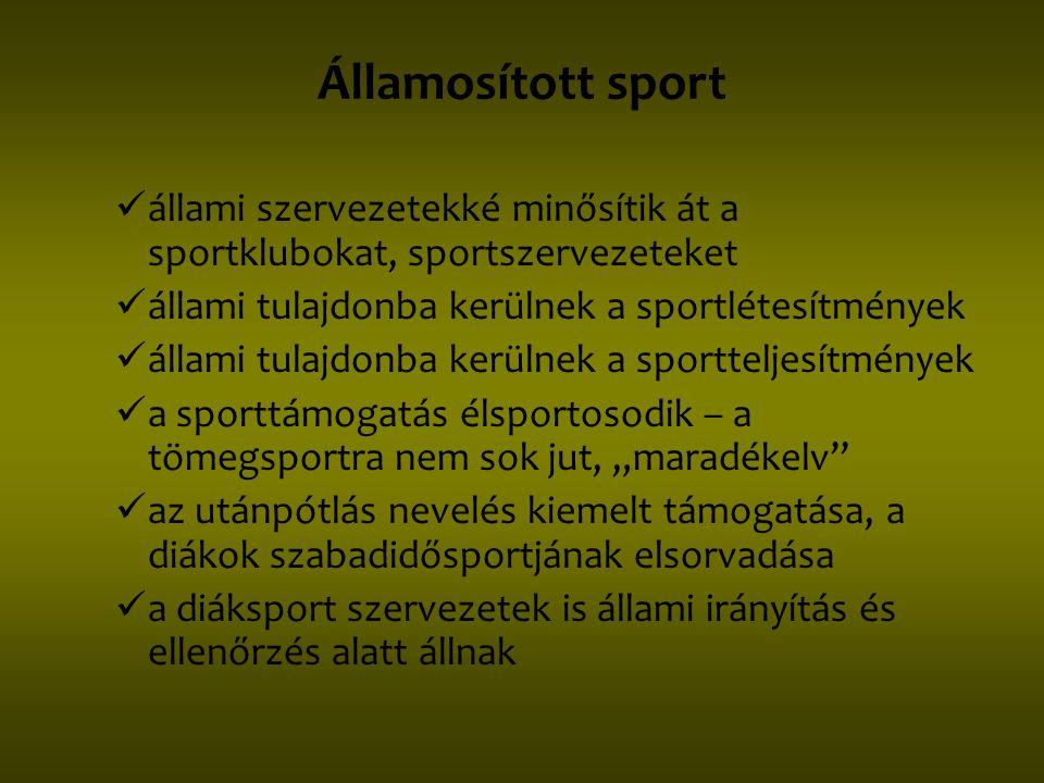 Államosított sport állami szervezetekké minősítik át a sportklubokat, sportszervezeteket. állami tulajdonba kerülnek a sportlétesítmények.