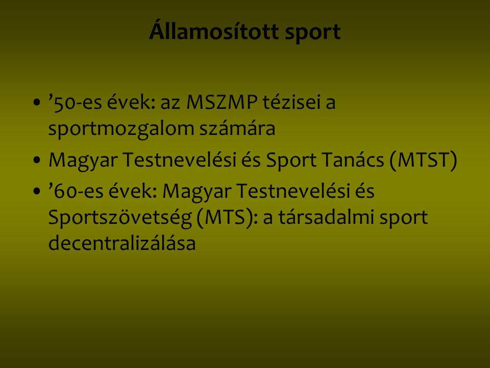Államosított sport '50-es évek: az MSZMP tézisei a sportmozgalom számára. Magyar Testnevelési és Sport Tanács (MTST)