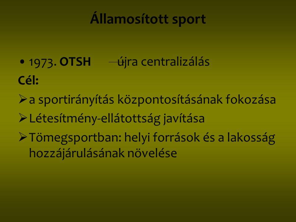 Államosított sport 1973. OTSH újra centralizálás Cél: