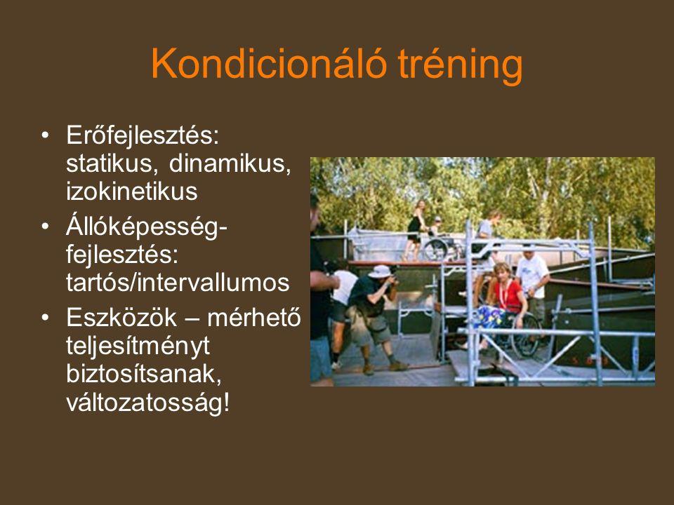 Kondicionáló tréning Erőfejlesztés: statikus, dinamikus, izokinetikus