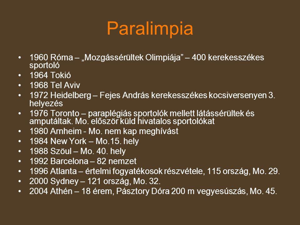 """Paralimpia 1960 Róma – """"Mozgássérültek Olimpiája – 400 kerekesszékes sportoló. 1964 Tokió. 1968 Tel Aviv."""