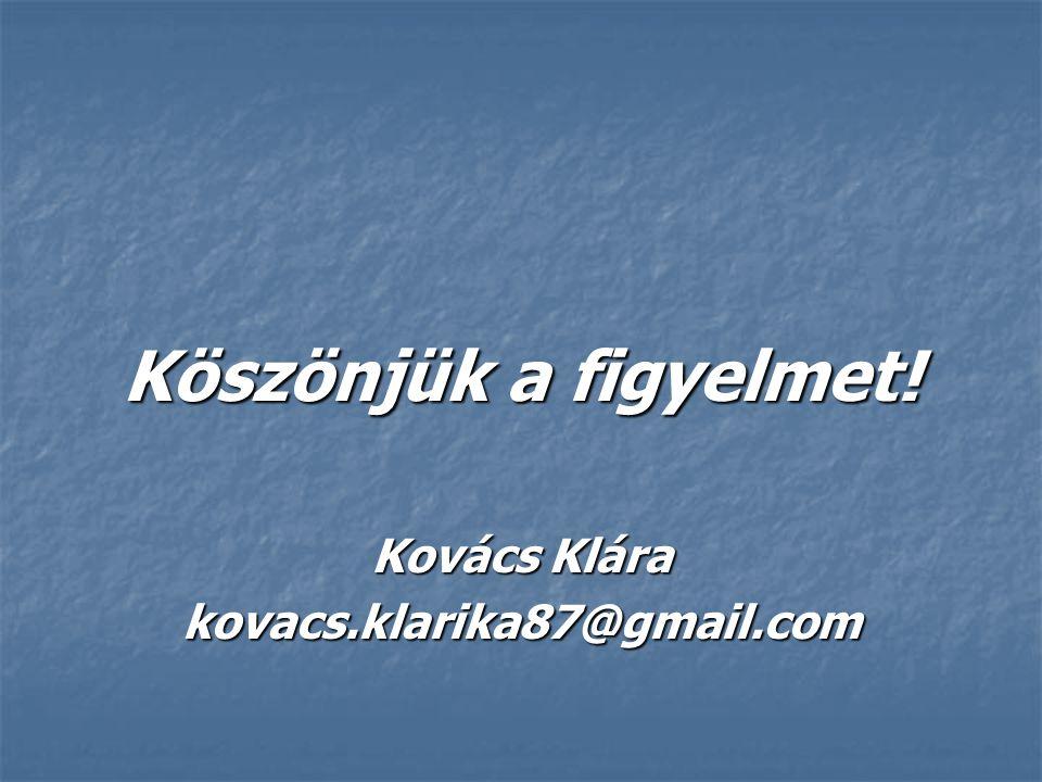 Köszönjük a figyelmet! Kovács Klára kovacs.klarika87@gmail.com