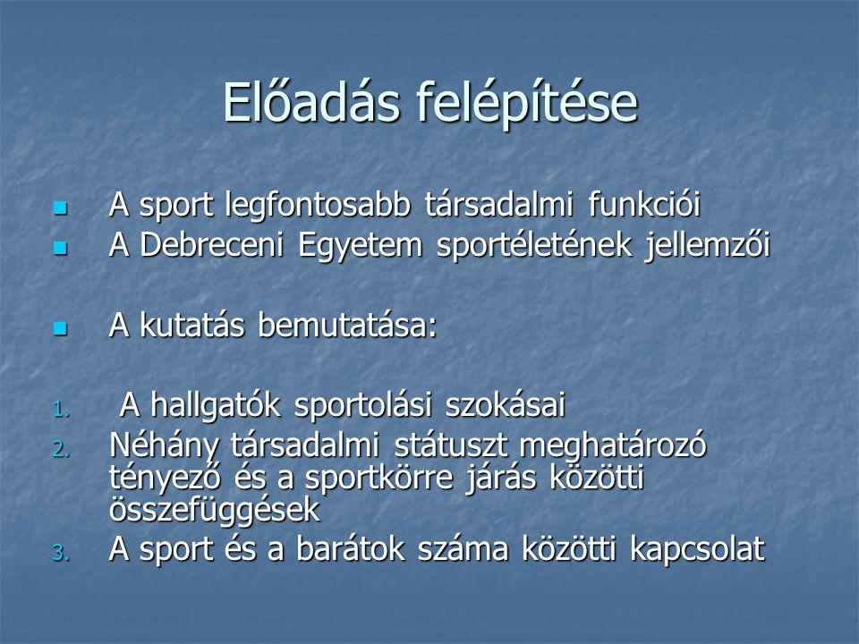 Előadás felépítése A sport legfontosabb társadalmi funkciói