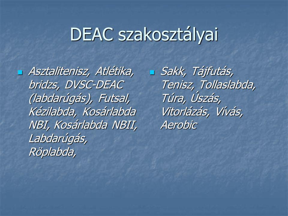 DEAC szakosztályai Asztalitenisz, Atlétika, bridzs, DVSC-DEAC (labdarúgás), Futsal, Kézilabda, Kosárlabda NBI, Kosárlabda NBII, Labdarúgás, Röplabda,