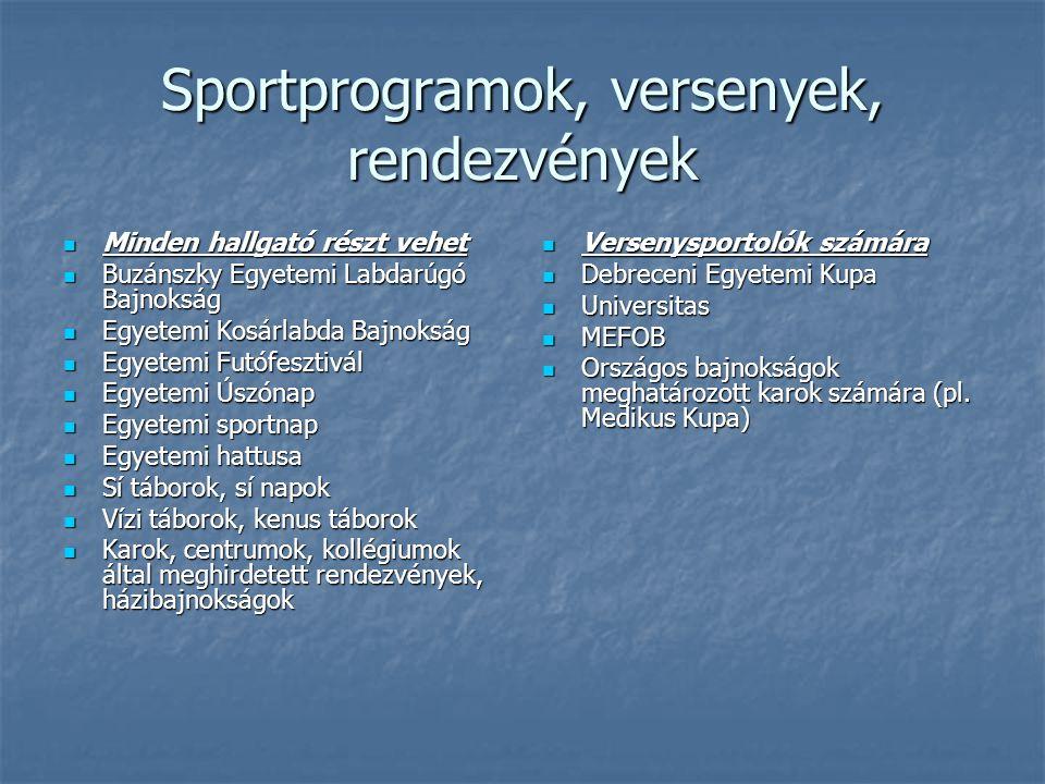 Sportprogramok, versenyek, rendezvények