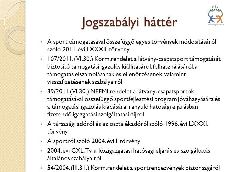 Jogszabályi háttér A sport támogatásával összefüggő egyes törvények módosításáról szóló 2011. évi LXXXII. törvény.